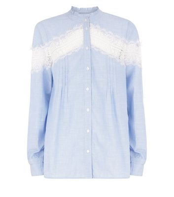Blue Lace Insert Shirt New Look