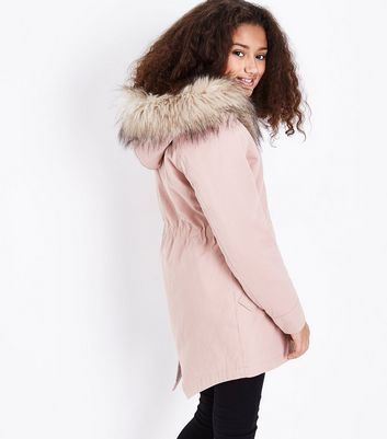 Teens Pink Faux Fur Trim Hooded Parka New Look