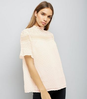 Cream Mesh Lace Panel High Neck Blouse New Look