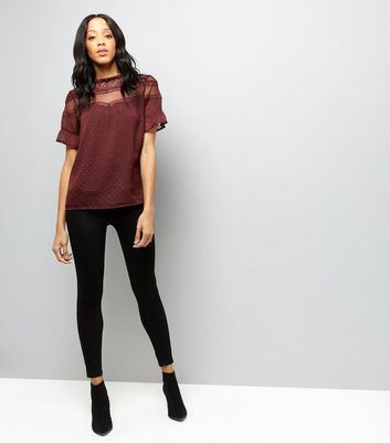 Burgandy Lace Panel High Neck Top New Look