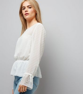 White Spot Textured Chiffon Top New Look