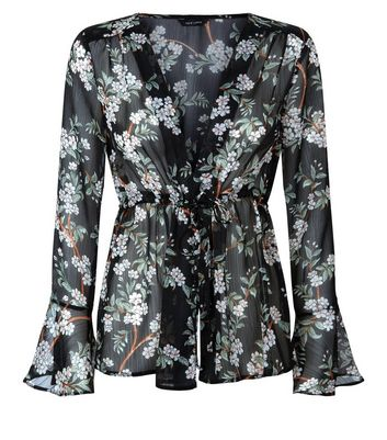 Black Floral Print Chiffon Tie Front Top New Look