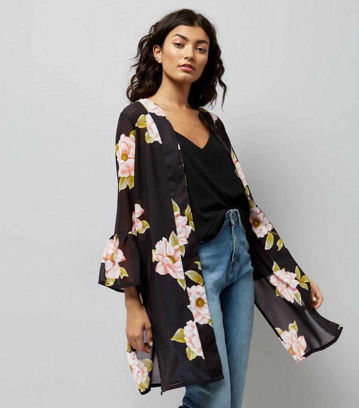 5ae6b063e Black Floral Print Bell Sleeve Kimono | New Look