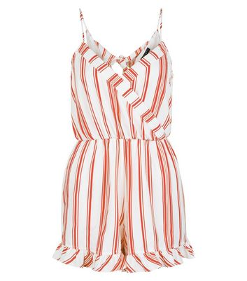 Petite White Contrast Stripe Frill Hem Playsuit New Look