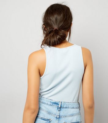 Blue Cut Out Front Ribbed Vest Top New Look