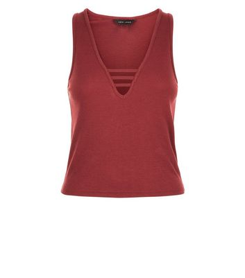 Burgundy Cut Out Front Ribbed Vest Top New Look