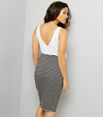 Maternity Black Stripe Jersey Midi Skirt New Look