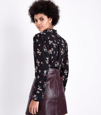 Black Floral Print Shirt New Look