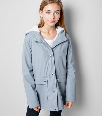 Teens Grey Borg Lined Anorak New Look