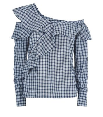 Navy Check Frill Trim Deconstructed Shirt New Look