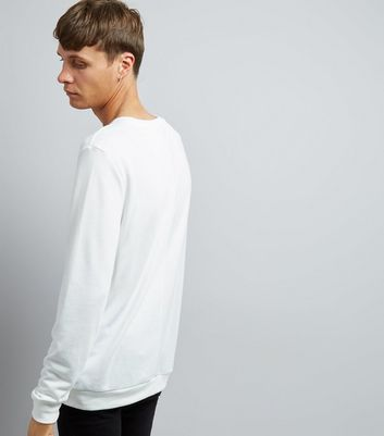 Off White Spliced Sweater New Look