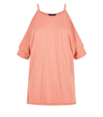 Coral Cold Shoulder T-Shirt New Look