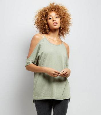 Khaki Cold Shoulder T-Shirt New Look