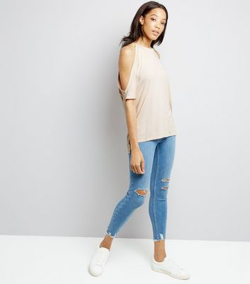 Pale Pink Cold Shoulder T-Shirt New Look