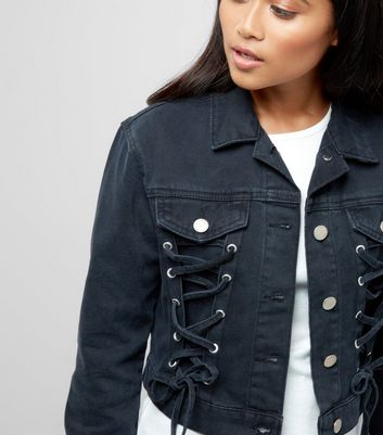 Petite Black Lace Up Front Denim Jacket New Look
