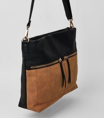Tan Colour Block Zip Shoulder Bag New Look