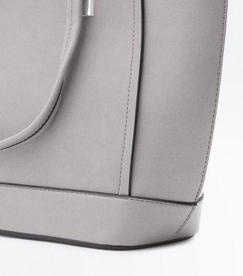Grey Metallic Trim Structured Tote Bag New Look