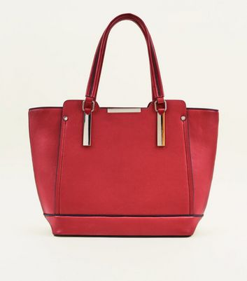 Red Metal Trim Structured Tote Bag