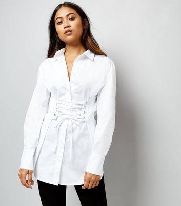 Petite White Corset Longline Shirt New Look