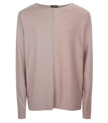 Light Purple Spliced Raw Hem Sweater New Look