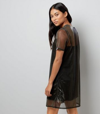 Petite Black Metallic Mesh Tunic Dress New Look