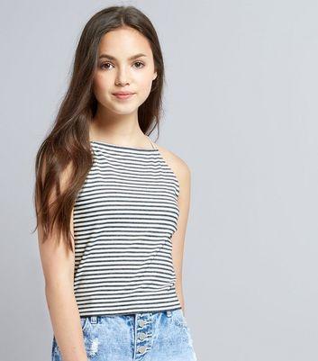 Teens Black Stripe Cami New Look