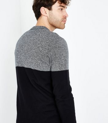 Black Colour Block Long Sleeve Polo Top New Look