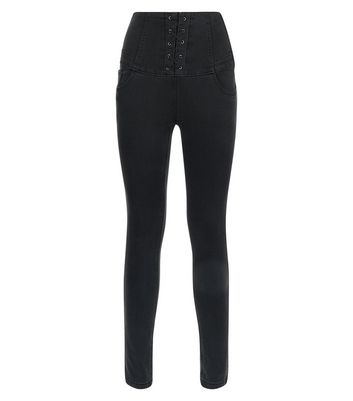 Teens. Black High Waist Corset Skinny Jeans New Look
