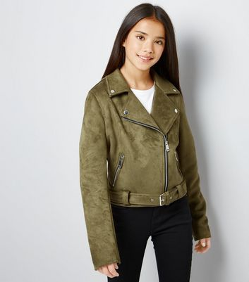 Teens Khaki Suedette Biker Jacket New Look