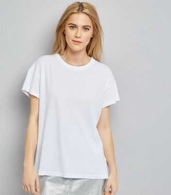 White Distressed Edge T-Shirt New Look