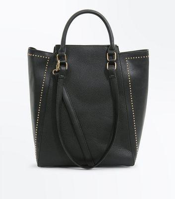 Black Stud Trim Tote Bag New Look