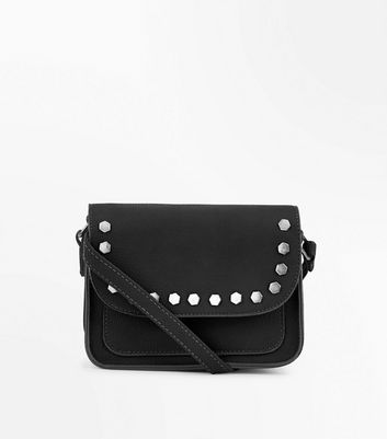 Black Hexagon Studded Cross Body Bag New Look