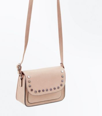 Shell Pink Hexagonal Stud Cross Body Bag New Look