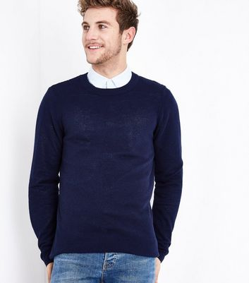 Navy Stitch Trim Jumper New Look