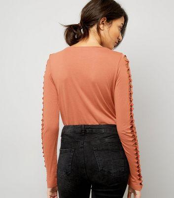 Brown Lattice Long Sleeve Top New Look