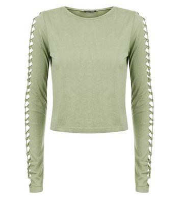 Khaki Cut Out Twist Long Sleeve Top New Look