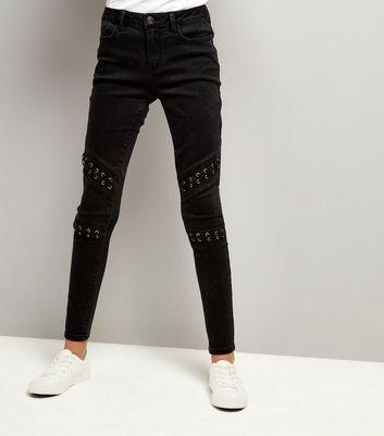 Teens Black Lattice Knee Jeans New Look