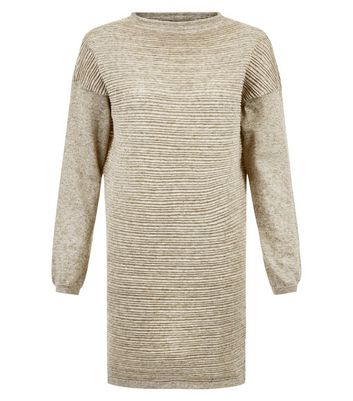 JDY Stone Ribbed Drop Shoulder Dress New Look