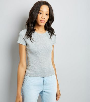 Grey Fitted T-Shirt New Look