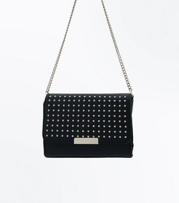 Black Studded Popper Front Cross Body Bag New Look