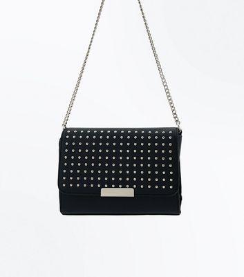Black Studded Popper Front Cross Body Bag New Look