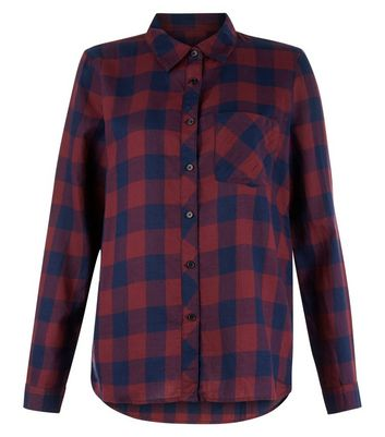 JDY Navy Check Dip Hem Shirt New Look