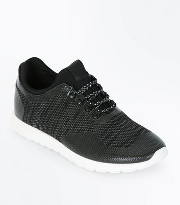 Black Textured Lace Trainers New Look