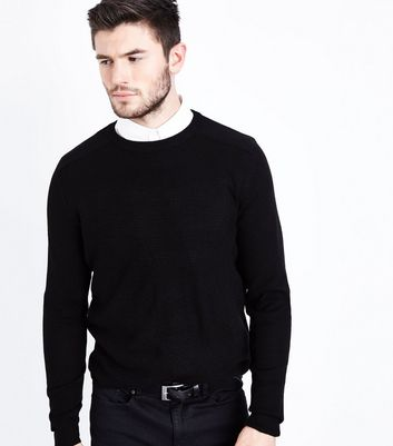 Black Textured Knit Jumper
