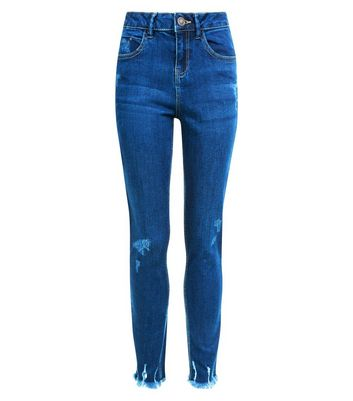 Teens Navy Fray Hem Distressed Jeans New Look
