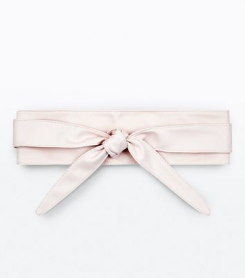 Pink Tie Up Front Wrap Belt New Look