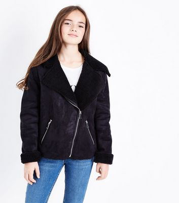 Teens Black Faux Shearling Lined Aviator Jacket New Look