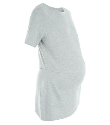 Maternity Grey Asymmetric Double Layer T-Shirt New Look