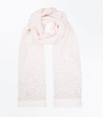 Pink Stud Embellished Scarf New Look