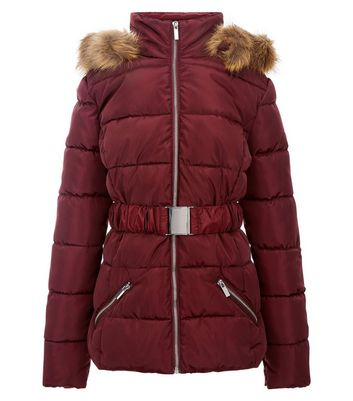 Teens Burgundy Belt Front Puffer Jacket New Look